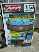 Coleman Power Steel Deluxe Series 18andrsquo 48andrdquo Metal Frame Above Ground Swimming Pool