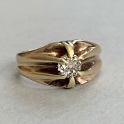 Antique 15ct Gold Solitaire Diamond Ring 6.27g Approx 0.5ct Size Q.5 Us 8.25