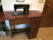 Singer Vintage 301a Sewing Machine Black W/cabinet The Singer Manufacturing Co