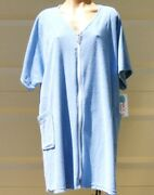 Cotton/poly Short Sleeve Zip Up Terry Cloth Cover Up/robe W/pockets Plus Size 2x