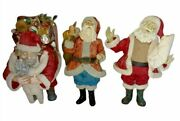 Clothtique By Possible Dreams Set Of Three Santas Pre-owned