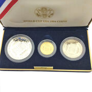 Tk21.6 Gold 1994 Soccer World Cup Coin Set Gold Silver Copper America Gold S