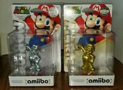 Super Mario Bros. Gold And Silver Amiibo Nintendo New Factory Sealed Wii U Switch