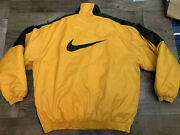 Vintage Nike Menand039s Insulated Pullover Jacket Medium 1990s Yellow And Black