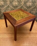 Brown Saltman Side Table Enameled Copper Gold Yellow Insert John Keal 60and039s Mcm