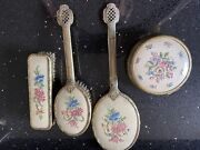 1930s Vintage Dressing Table Set Embroidered Back French Style Gold Tone