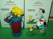 Hallmark Lot Golfer Snoopy And Golfing With Woodstock Clubs Peanuts 2019 Ornaments