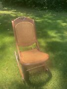 Antique Victorian Style Woodandcane Floral Carved Folding Rocking Chair
