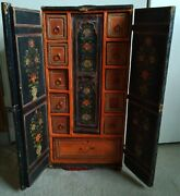 Antique Indian Spice Wooden Chest Paper Mache Finished Beautifully Hand Painted