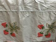 Vintage Twin Handmade Crewel Chenille Embroidery Strawberry Coverlet Bedspread