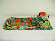Mid-1900s German Marke Technofix Cable Car Tin Windup Toy With Box - Working