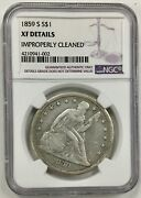1859-s Seated Liberty Silver Dollar 1 Ngc Xf Details Very Scarce