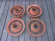 """4 1933 - 1934 Ford Flathead Wire Wheels Full Set Of 17"""" 1934 1933 Nice Patina"""