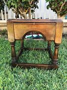 Vintage Mid Century Solid Wood Side Table With 4 Shelves Slide One Of A Kind