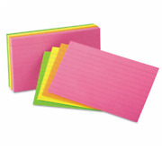 Ruled Neon Glow Index Cards 5x8 Assorted 100 Per Pack