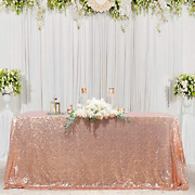 50x80inches Rose Gold Sequin Fabric Tablecloth Sequin Panels Party Baby Shower