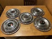 1960and039s Oe Gm Chevrolet Color Double Cross Flag Hubcap Hub Cap Oem 14 Set Of 5