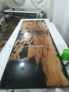 Black Wooden Epoxy Resin Center Console Table Top Decorative Living Furniture