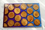 Pink And Blue Resin Epoxy Furniture Handmade Wood Acacia Designer Dining Table Top