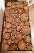 Round Wood Acacia Pieces Clear Resin Epoxy Cafeteria Table Top Furniture Dandeacutecors