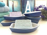 Four Blue And White Boat Dishes. Boat Shape Soap Dishes. Sea Themed/nautical Décor
