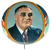 1936 Fdr Franklin D. Roosevelt 2.5 In Campaign Pin Pinback Button Presidential