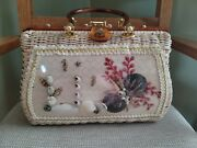 Vintage Princess Charming By Atlas White Wicker And Lucite Sea Shell Bag Hong Kong