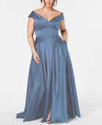 Xscape Womenand039s Plus Size Off-the-shoulder Gown Blue Size 18w