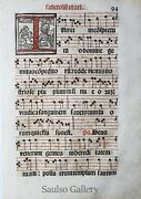 17th Century Illuminated Manuscript Sheet Music One Leaf From Prominent Estate