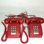 Retro Red Push Button Desk Telephones Vtg Style Phone Cetis W/cords - 2 Working