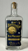 Antique The Battery Club Rye Whiskey Corning And Co. Peoria, Illinois Bottle Label