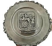 """Pewter Antique Hand-hammered Large Plate W/ """"j.bellinis"""" 13"""" Wall Hanging Decor"""