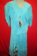 Native American Vintage Turquoise Fringed Dress Skirt Top Tassels Concho Feather