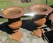 Set Of 2 Macthing Vintage Cast Iron Urns / Planters - 28 Inches Tall - 20 Wide
