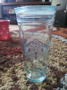 Starbucks 20oz Venti Recycled Glass Cold Cup Tumbler Made In Spain Rare With Lid