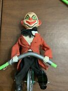 Vintage Clown Unicycle Tight Rope Walker Celluloid Am1
