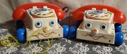 Pair Vintage 1985 Fisher Price Chatter Telephone Rotary Phone Pull Toy