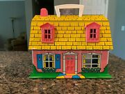 Vintage Marx Metal 2 Story Pink Dollhouse Yellow Barn Roof Tin Litho House And