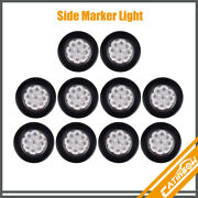 10pcs Clear/amber 2 9 Led Round Trailer Side Marker Clearance Light W/grommet