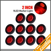 10pcs Red 2 9 Led Round Truck Trailer Side Marker Clearance Lights W/grommet