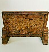 Antique Chinese Carved Porcelain Table Screen