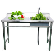 Commercial Sink Bowl Kitchen Catering Prep Table With 1 Compartment Steel W/tap