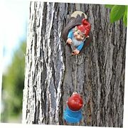 Outdoor Gnome Tree Hugger, Funny Garden Statues Out The Door, Cute Resin Tree