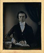 Very Early Young Man Unusual Stamped Pad Identified 1/6 Plate Daguerreotype H234