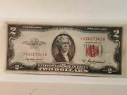 1953a Red Seal Star Note 2 Two Dollar U.s. Note Bill Au