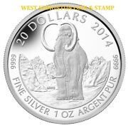 2014 20 Fine Silver Coin Prehistoric Animals The Wooly Mammoth