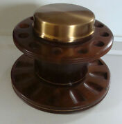 Duk-it Mcdonald 12 Pipe Stand Holder Copper Humidor Leather Genuine Walnut Wood