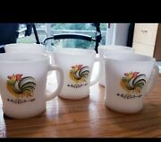 5 Rooster Mugs D-handle Vintage Fire King Usa , Country Farmhouse Kitchen