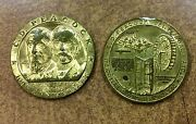 2 1937 C.d. Peacock Jewelers Ann. Medals Chicago Fire Relic , 31mm