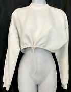 Joan Brown Draw Cord Crop Crew Sweatshirt Off White Mock Neck French Terry O/s